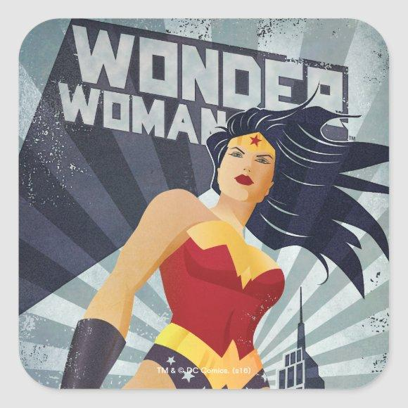Wonder Woman Retro City Sunburst Square Sticker