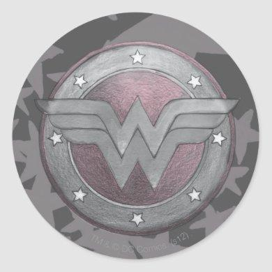Wonder Woman Shield Pattern Classic Round Sticker