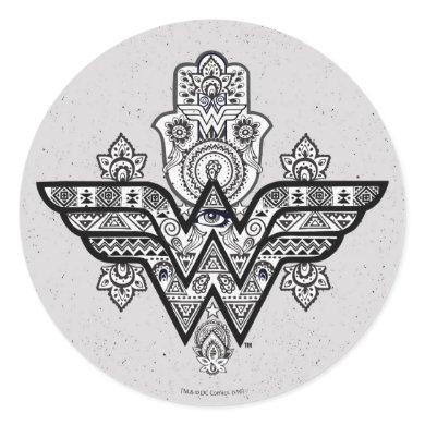 Wonder Woman Spiritual Paisley Hamsa Logo Classic Round Sticker
