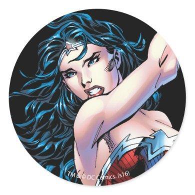 Wonder Woman Swinging Sword Classic Round Sticker