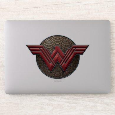 Wonder Woman Symbol Over Concentric Circles Sticker