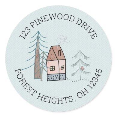 Woodland Home Doodle New Address Classic Round Sticker