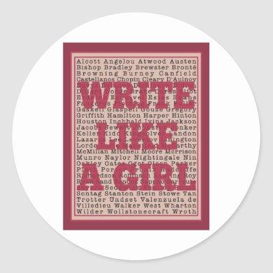 Write Like a Girl Lipstick Classic Round Sticker