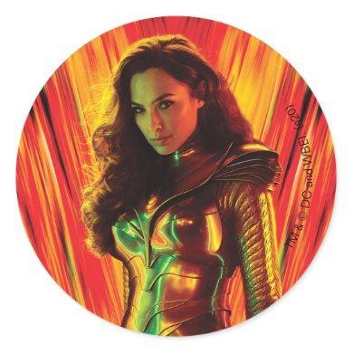 WW84 | Red-Orange Wonder Woman Kaleidoscope Classic Round Sticker