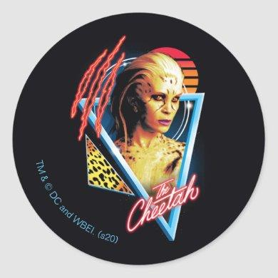 WW84 | The Cheetah Retrowave Character Badge Classic Round Sticker