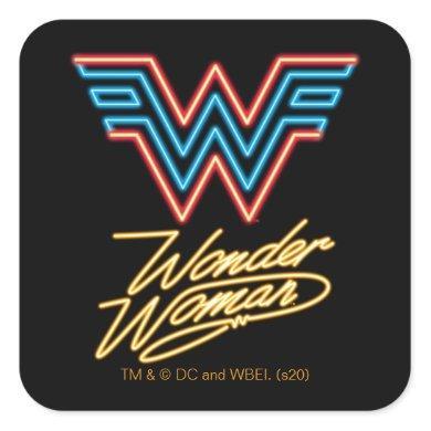 WW84 | Wonder Woman Neon Light Logo Square Sticker