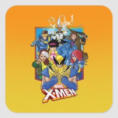 X-Men | Group Badge With Logo Square Sticker