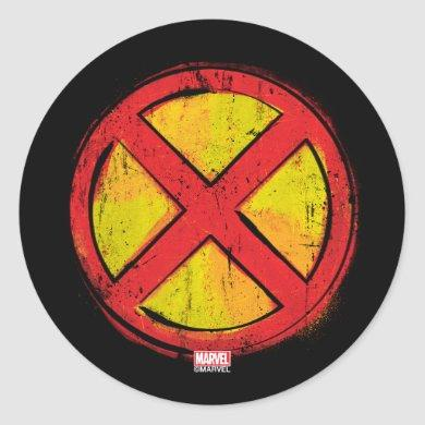 X-Men | Red and Yellow Spraypaint X Icon Classic Round Sticker