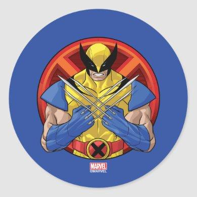 X-Men | Wolverine Character Badge Classic Round Sticker