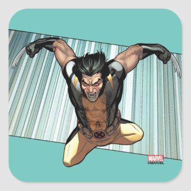 X-Men | Wolverine Leaping Down Comic Panel Square Sticker