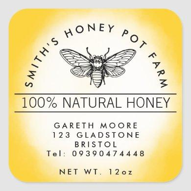 Yellow honey bee jar square sticker