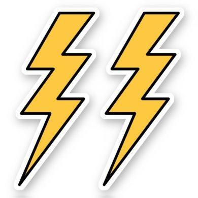Yellow lightning bolts sticker