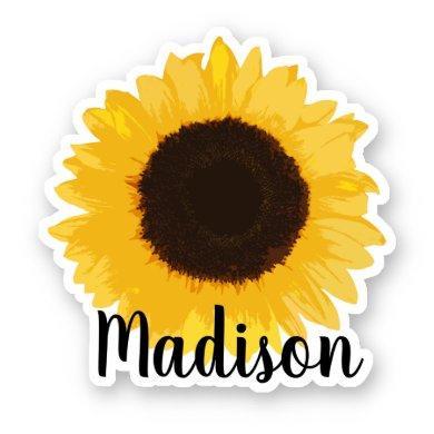 Yellow Sunflower Name Sticker