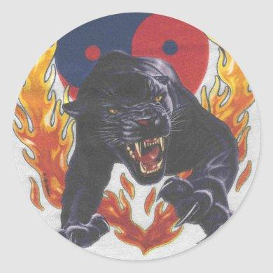Yin & Yang black panther Classic Round Sticker