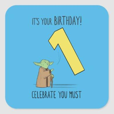 Yoda - Happy First Birthday Square Sticker