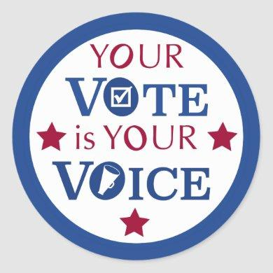 Your Vote is Your Voice Classic Round Sticker
